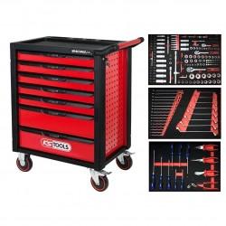 Tööriistakäru RACINGline must/punane + 215-osaline komplekt KS Tools