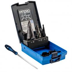 3 dalių pakopinių grąžtų rinkinys PFERD STB HSS 3 HC-FEP su priedu